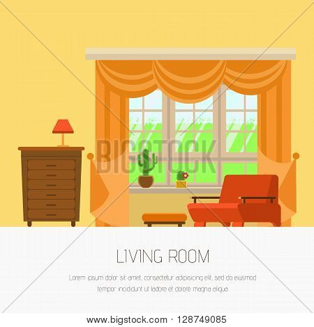 Vector illustration interior living room flat style. Interior furniture living room yellow tones: window chair bedside table lamp. Stylish and modern interior. Web banner living room your design