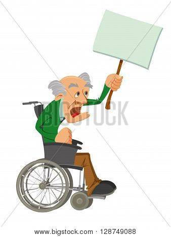 old man in a wheelchair is protesting and holding a wooden stick with a white board banner