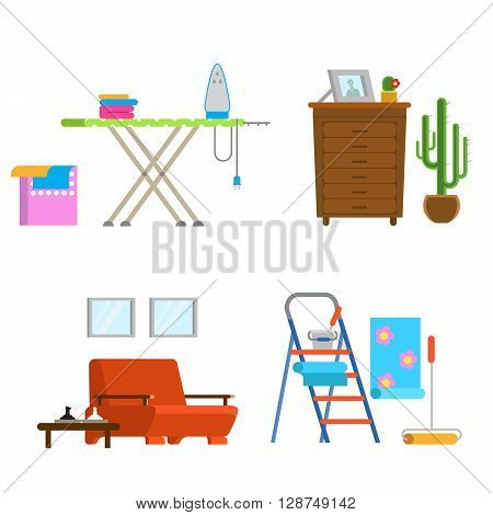 Set of detailed interior room flat design. Interior living room: chair wardrobe linen iron Ironing Board glue repair ladder cactus. Vector illustration detailed interior room isolated.