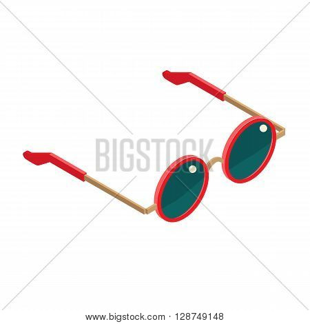 Flat isometric red goggles isolated. Vector isometry goggles round shape white background. Isometry high quality summer goggles icon