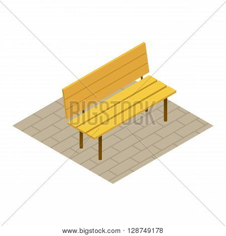 Flat 3d bench park isometric on white background. Vector illustration bench isometric for your design