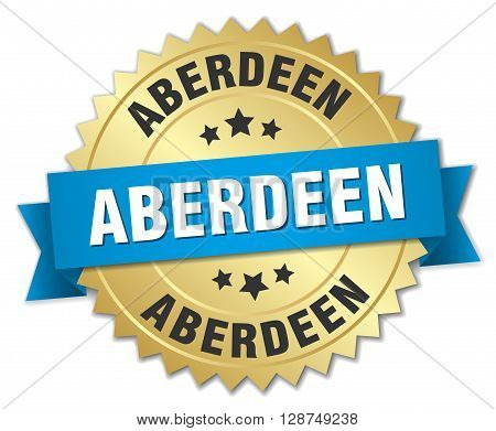 Aberdeen round golden badge with blue ribbon
