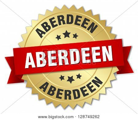 Aberdeen round golden badge with red ribbon