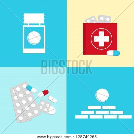 Vector flat set of medical icons : aid kit symbols capsule and tablet. Pictograms collection of tablets and pills. Vector illustration of tablets capsules pills