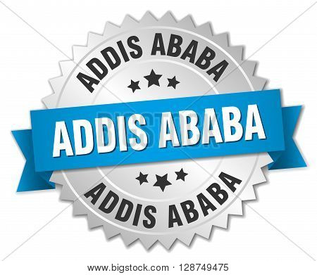 Addis Ababa round silver badge with blue ribbon
