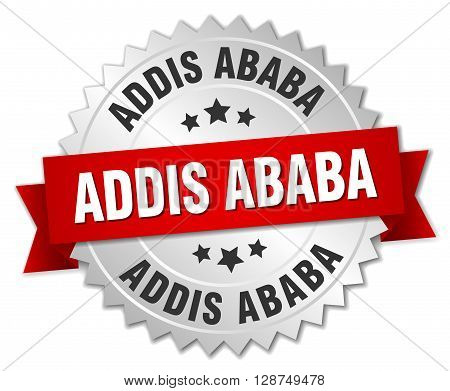 Addis Ababa round silver badge with red ribbon