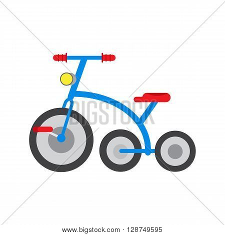Vector illustration tricycle isolated. Icon for web and mobile application. Children transporton a white background. Flat tricycle children bikedesign style.