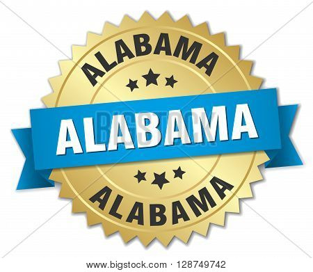Alabama round golden badge with blue ribbon