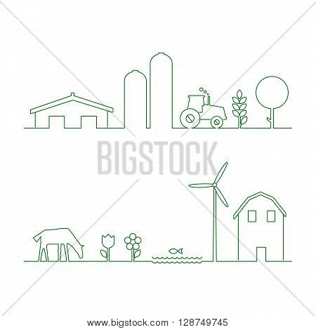 Thin line flat design of rural landscape. Thin line abstract countryside with tractor sun and corn. Set of design elements for rural landscape isolated. rural landscape with house and wind mill.