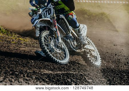 Miasskoe Russia - May 02 2016: closeup of motorcycle rides on dusty track during Cup of Urals motocross