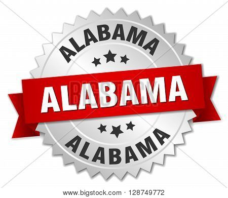 Alabama round silver badge with red ribbon