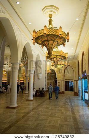 DUBAI - UNITED ARAB EMIRATES JANUARY 29 2016: The Dubai Mall the world's largest shopping mall that includes around 1200 shops.