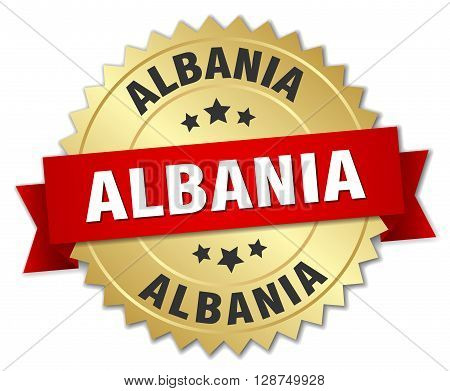 Albania round golden badge with red ribbon