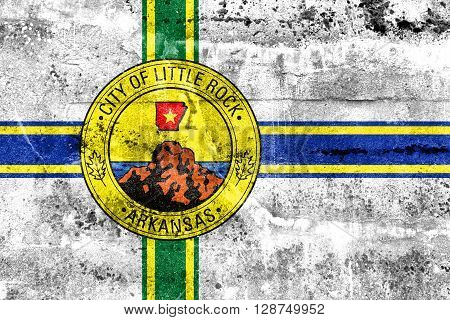 Flag Of Little Rock, Arkansas, Painted On Dirty Wall. Vintage And Old Look.