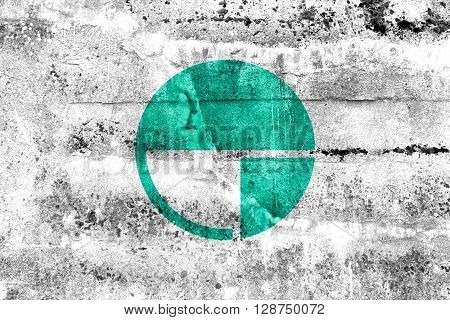 Flag Of Nagano, Japan, Painted On Dirty Wall. Vintage And Old Look.