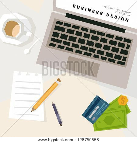 Top View Businessman Workplace. Laptop, Tablet PC, Coffee Cup, Credit Card and Notepad Page.