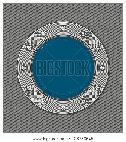 Vector illustration of submarine window or porthole with underwater view