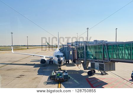 PRAGUE, CZECH REPUBLIC - AUGUST 04, 2015: airport of Prague. International airport of Prague is major airport of Czech Republic
