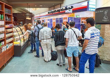 DUBAI, UAE - CIRCA JUNE, 2015: Starbucks cafe in Dubai International Airport. Dubai International Airport is the primary airport serving Dubai, United Arab Emirates