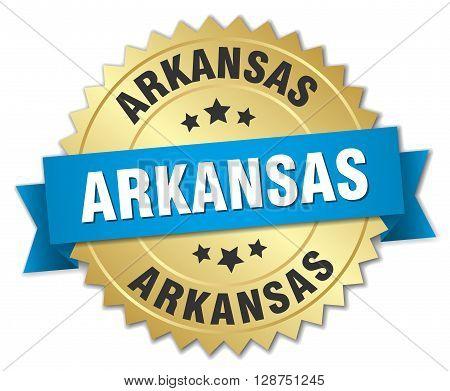 Arkansas round golden badge with blue ribbon