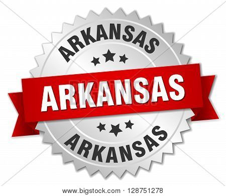 Arkansas round silver badge with red ribbon