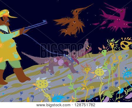 Illustration of a hunter with a hunting dog on a leash shooting at flying strange looking birds, isolated  hand drawn image in primitive manner