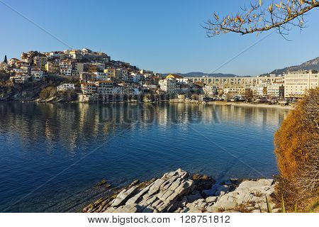 Morning view of aqueduct and old Old town of Kavala, East Macedonia and Thrace, Greece