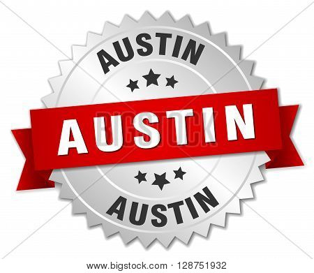 Austin round silver badge with red ribbon