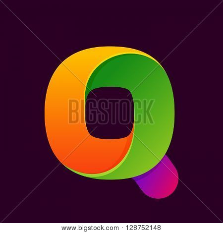 Q Letter One Line Colorful Logo.