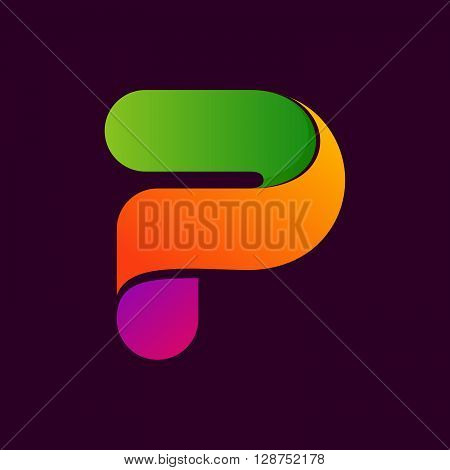R Letter One Line Colorful Logo.