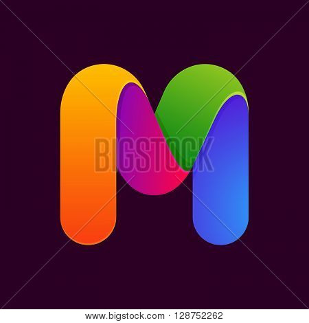 M Letter One Line Colorful Logo.