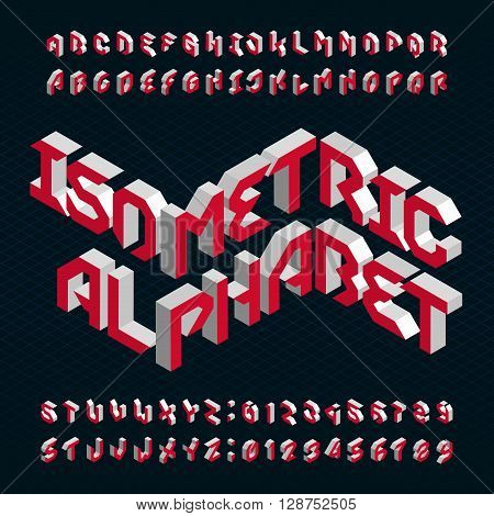 Isometric alphabet vector font. 3D letters and numbers on a dark background. Isometric stock vector typeface for your design.