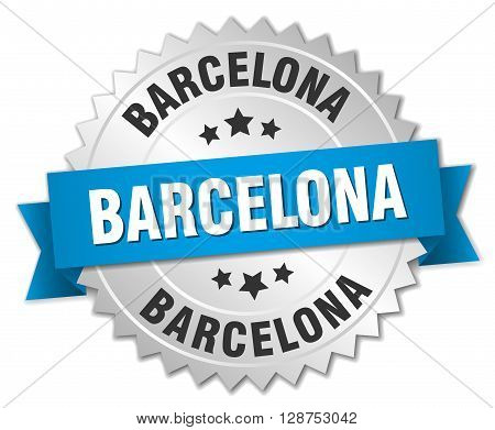 Barcelona round silver badge with blue ribbon