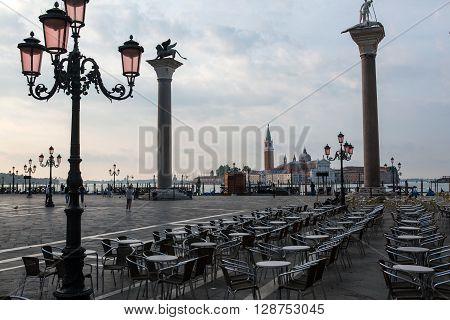 View in Venice on sunrise with San Giorgio Maggiore Italy