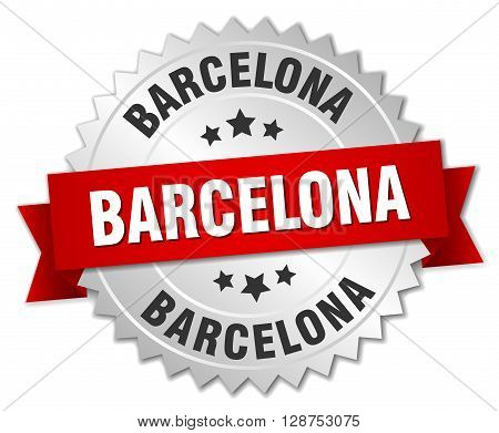 Barcelona round silver badge with red ribbon