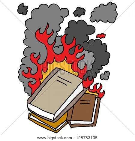 An image of a burning books.