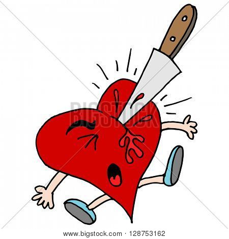 An image of a stabbed in the heart metaphor.