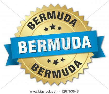 Bermuda round golden badge with blue ribbon
