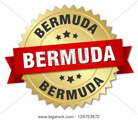 Bermuda round golden badge with red ribbon