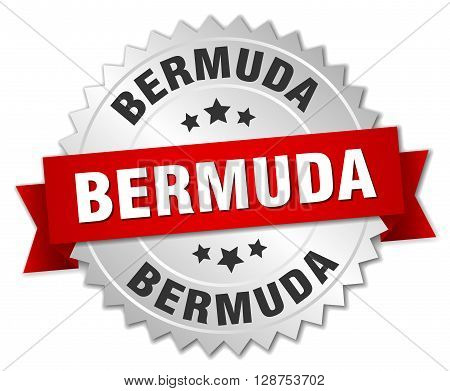 Bermuda round silver badge with red ribbon