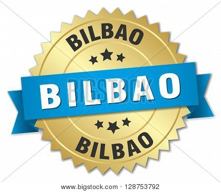 Bilbao round golden badge with blue ribbon,3d