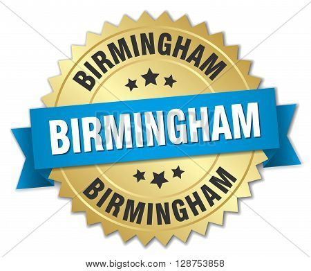 Birmingham round golden badge with blue ribbon,3d