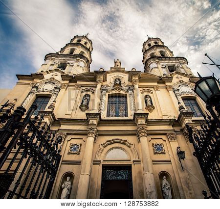 The facade of a Church in Buenos Aires