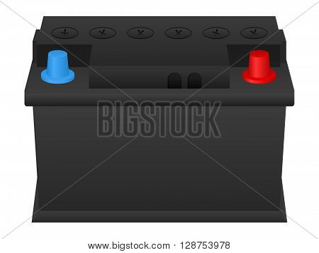 Car battery on a white background. Vector illustration.