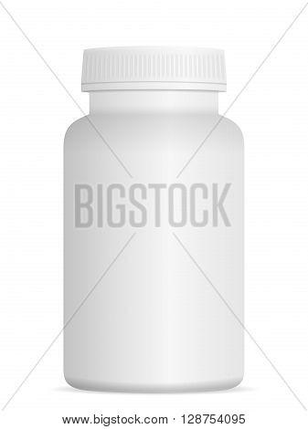 Medicine pill bottle on a white background.