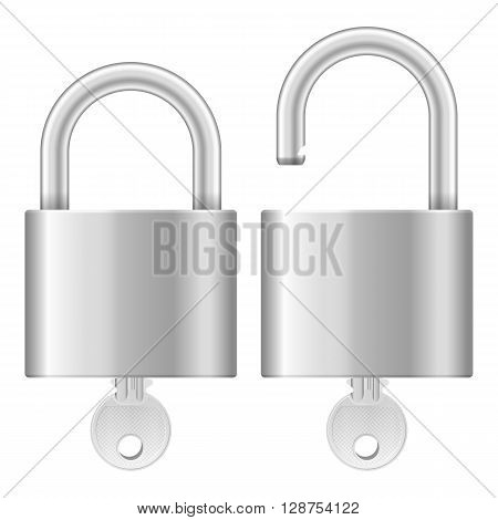 Padlock and key on a white background.