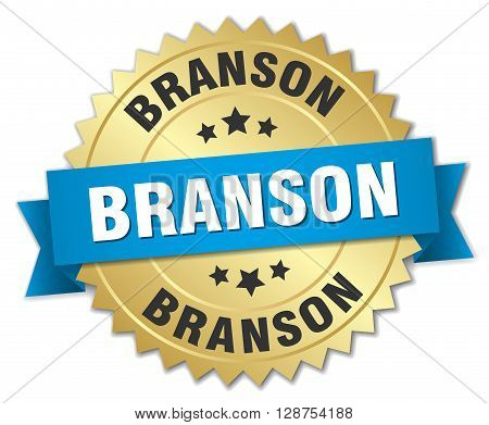 Branson round golden badge with blue ribbon