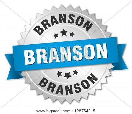 Branson round silver badge with blue ribbon