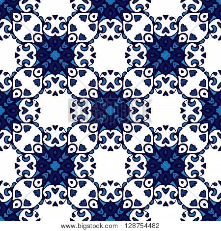 Vector seamless patchwork background from dark blue and white ornaments, geometric pattern. Can be used for wallpaper, pattern fills, web page background, surface textures.