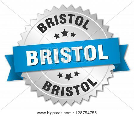Bristol round silver badge with blue ribbon